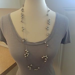 J.CREW Matte Silver Pearls Long Beaded Necklace